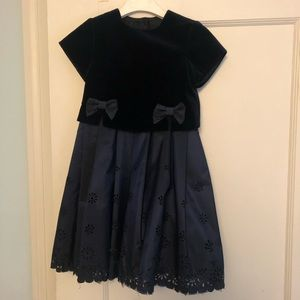Midnight blue taffeta/velvet party dress
